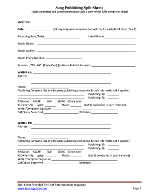 Split Sheet Template Fill Out And Sign Printable Pdf
