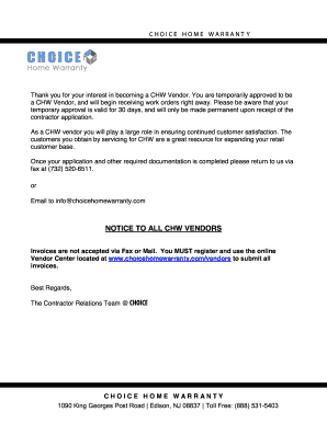Choice Home Warranty Vendor Login >> Choice Home Warranty Vendor Form Fill Out And Sign Printable Pdf