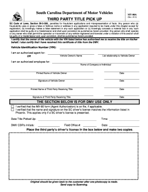 Third Party Dmv >> Sc Dmv Mv 80a Form Fill Out And Sign Printable Pdf Template Signnow