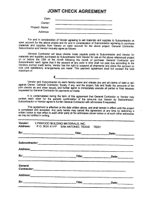 Joint Check Agreement Forms Fill Out And Sign Printable