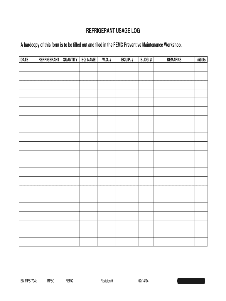 Get And Sign Refrigerant Log Sheet 2004-2021 Form