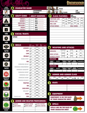 image about Pathfinder Printable Character Sheet titled Pathfinder starter persona sheet style - Fill Out and Indication
