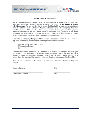 Dodd Frank Certification Form Fill Out And Sign Printable