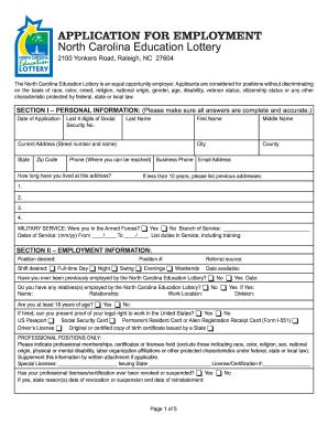 North Carolina Education Lottery Employment Application - nc