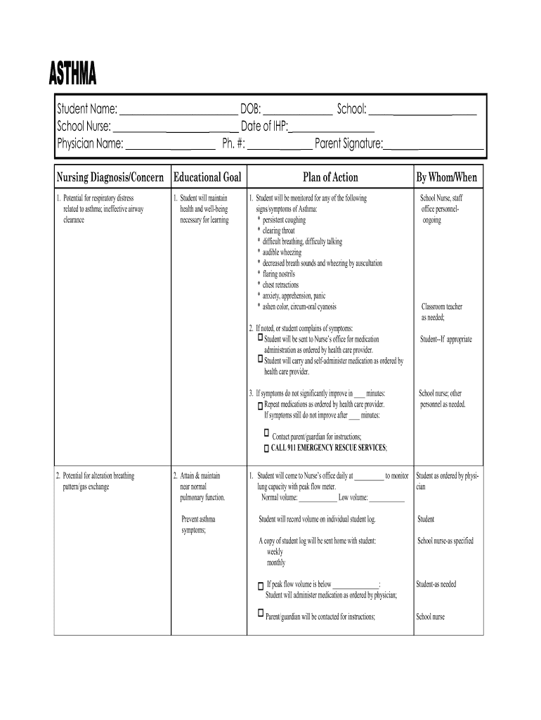 New Mexico University Asthma Printalble Care Plan Fill Out And Sign Printable Pdf Template Signnow