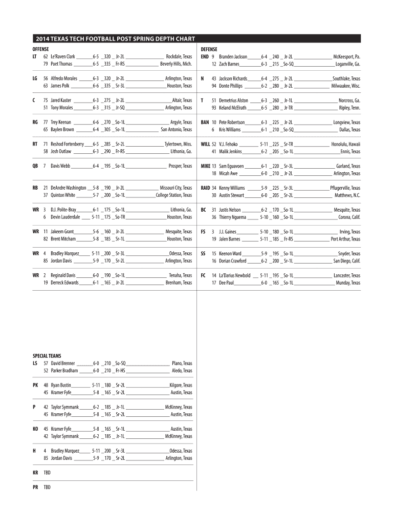 Get And Sign Football Depth Chart Template 2014-2021 Form