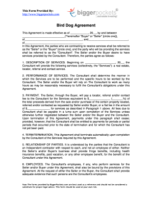 Consulting Agreement Forms | Bird Dog Consulting Agreement Form Fill Out And Sign Printable Pdf