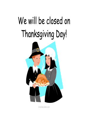 picture relating to Closed for Thanksgiving Sign Printable referred to as Shut for thanksgiving indicator type - Fill Out and Indicator