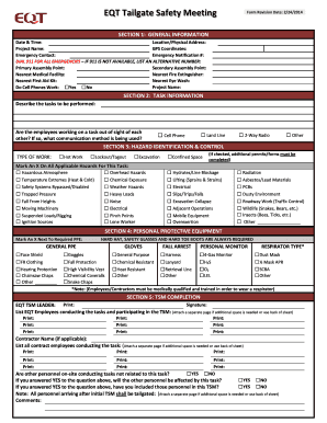 Get And Sign Tailgate Safety Meeting Form Pdf Eqt
