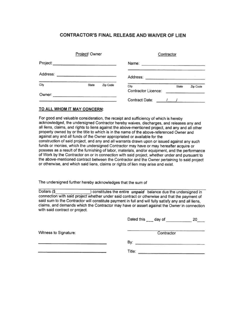 Get And Sign Contractor's Final Release And Waiver Of Lien Form