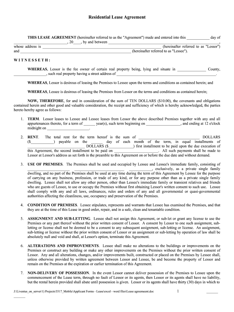 Lease Agreements Pdf Fill Out And