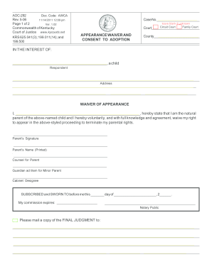 picture about Free Printable Adoption Papers named Kentucky adoption style - Fill Out and Signal Printable PDF