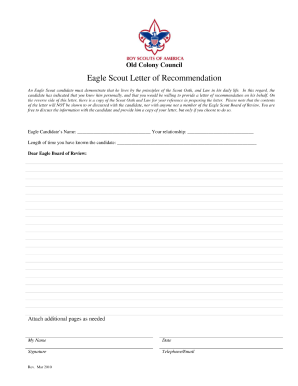 Eagle Scout Reference Letter Form Fill Out And Sign Printable Pdf