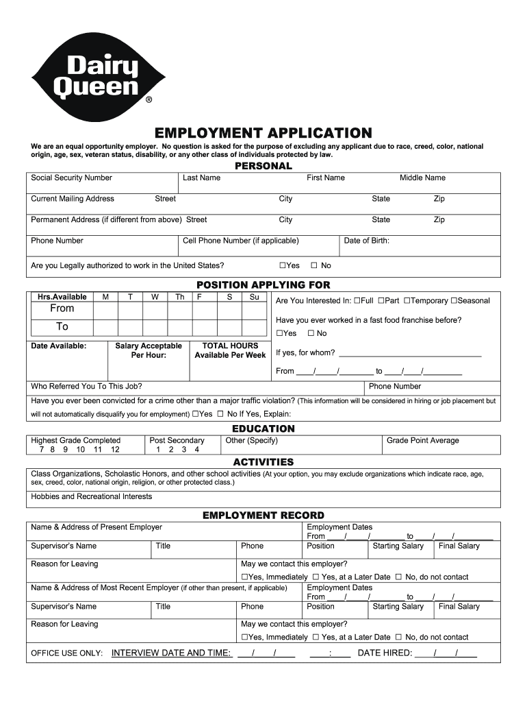 Get And Sign Dairy Queen Application Pdf Form