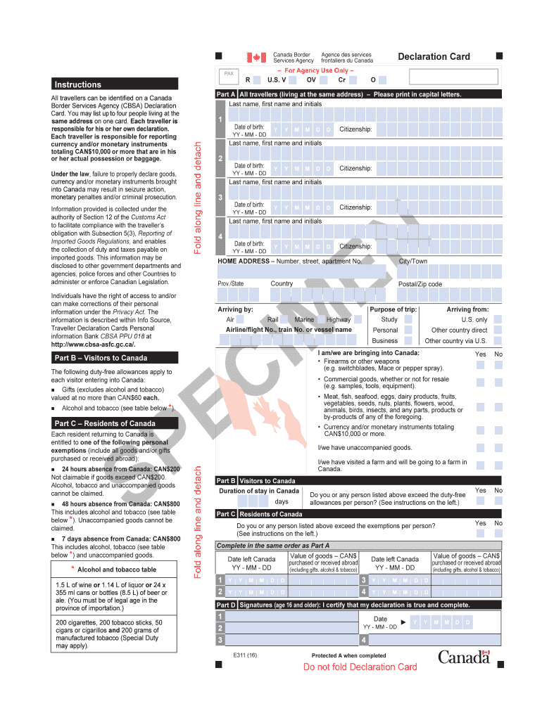 Canada Declaration - Fill Out and Sign Printable PDF Template  signNow