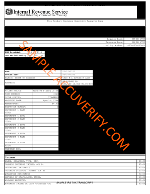 Sample Tax Return Transcriptpdffillercom Form Fill Out And Sign