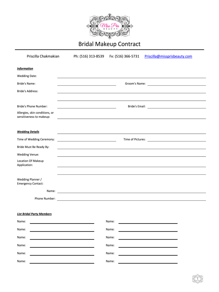 Makeup Artist Contract Fill Out And