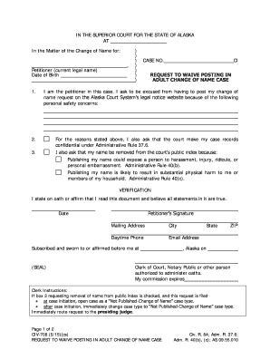 Get And Sign CIV 708 Request To Waive Posting In Adult Name Change Case 5 15 Fill in Civil Forms 2015-2021