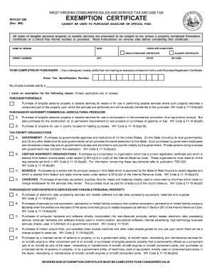 Wv tax exempt form - Fill Out and Sign Printable PDF Template | SignNow