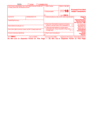 2018 Form 1099-S  Proceeds From Real Estate Transactions