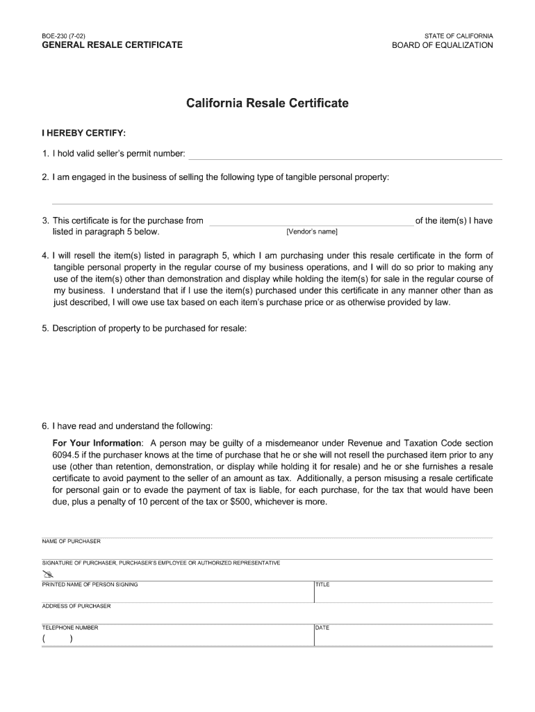 Get And Sign Ca Resale Certificate 2002-2021 Form