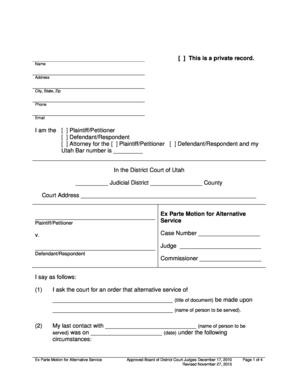 Get And Sign Utah Motion For Alternative Service 2015-2019 Form