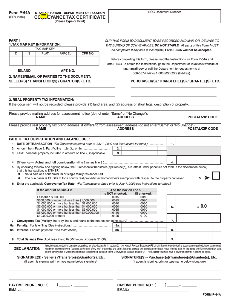 Get And Sign Hawaii Recording Froom P 64a And P64b 2015-2021 Form