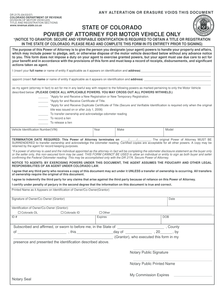 Get And Sign State Of Colorado Power Of Attorney For Motor Vehicle Only Form 2012-2021