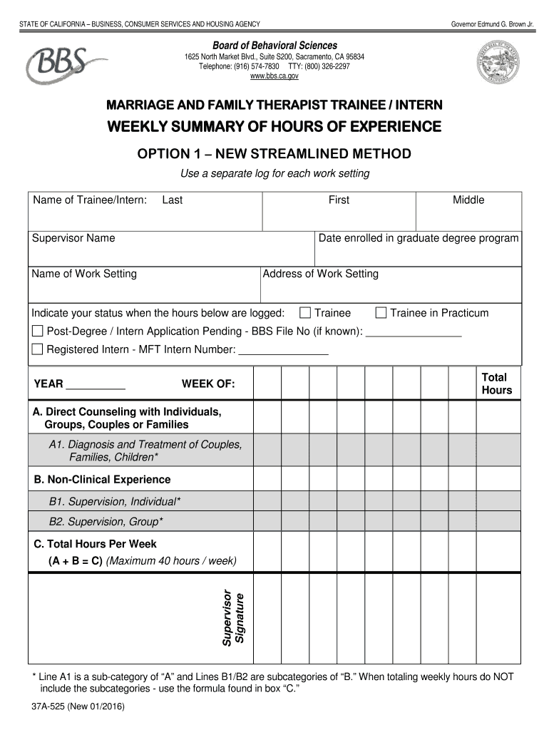 Get And Sign BBS LMFT Weekly Summary Of Experience Hours Option 1  Bbs Ca 2016-2021 Form