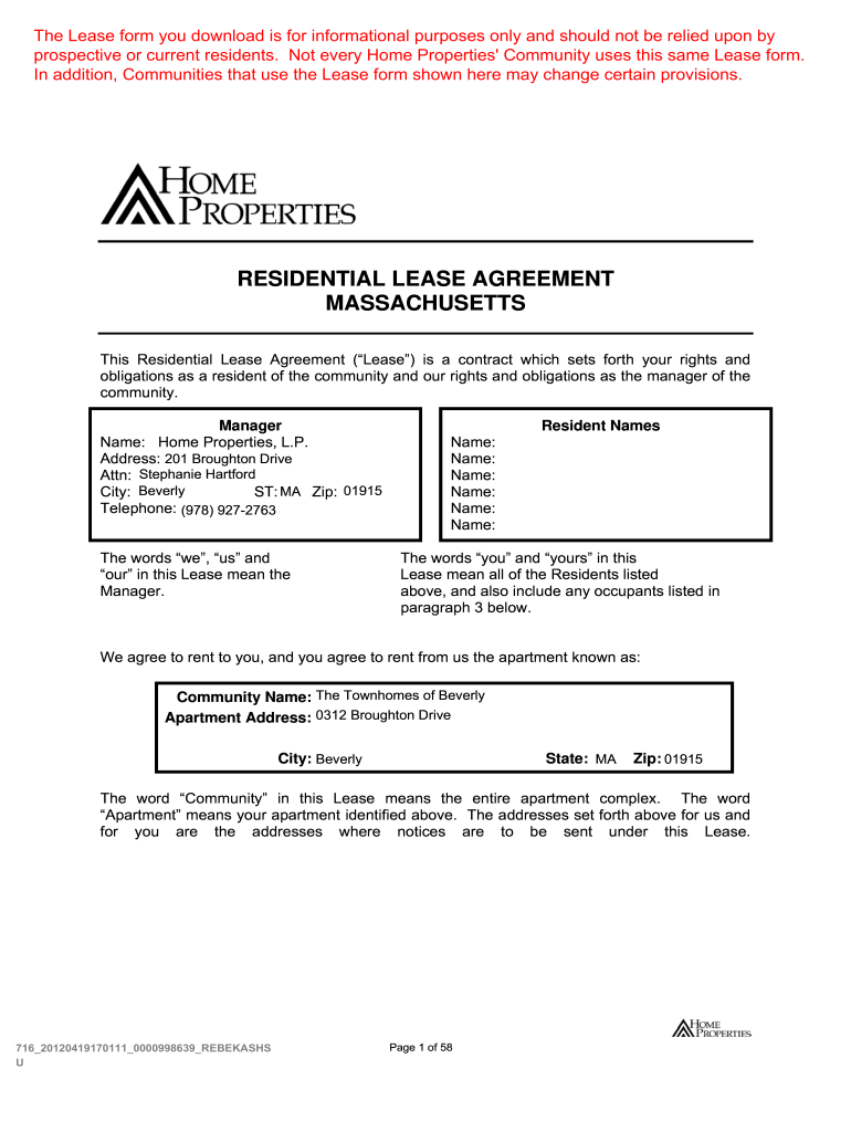 Get And Sign Mass Residential Lease Agreement Pdf Form