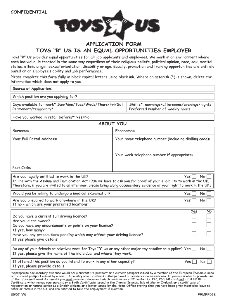 Get And Sign Toys R Us Application Pdf Form 2007-2021