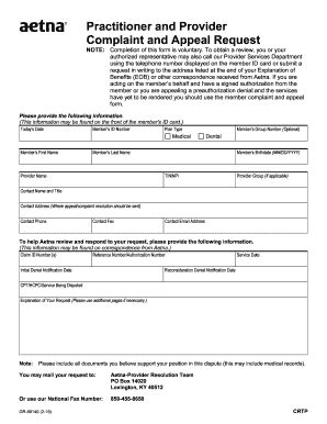 Aetna appeal form - Fill Out and Sign Printable PDF Template
