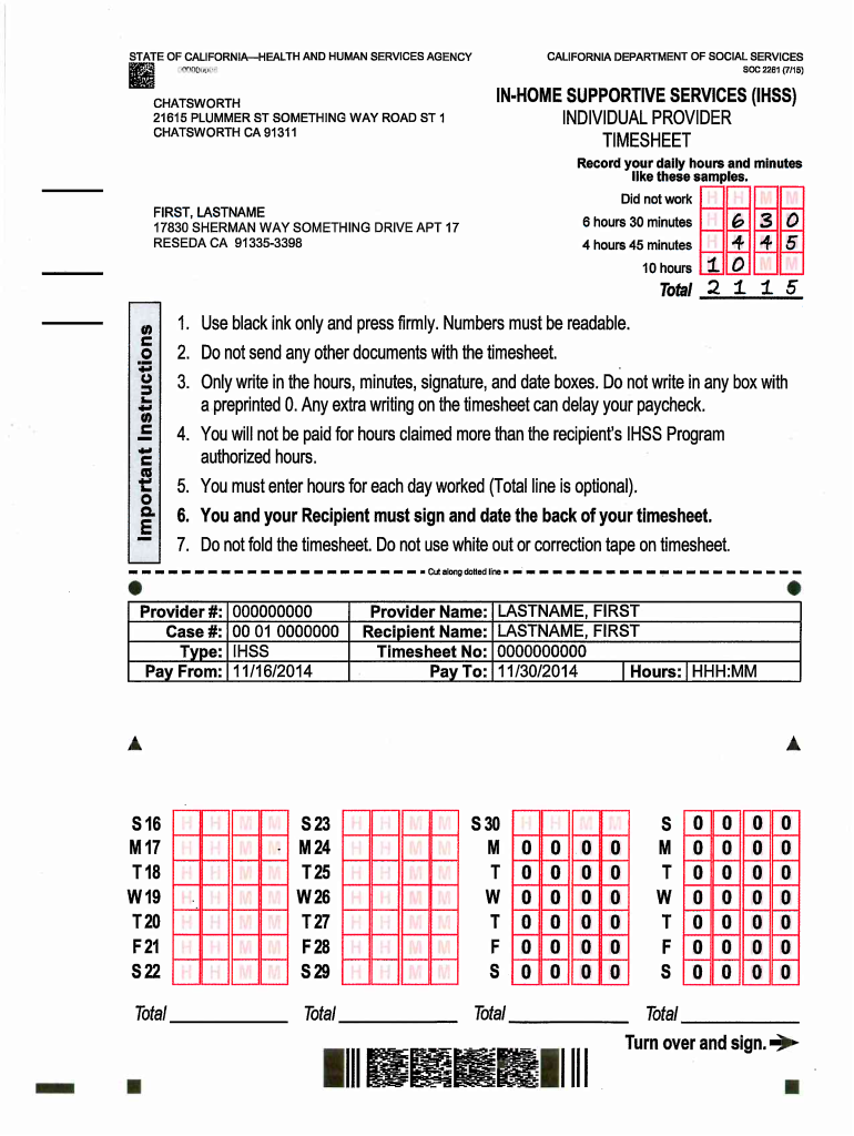 Get And Sign Ihss Timesheet Pdf 2015-2021 Form