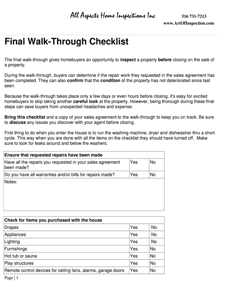 Get And Sign Final Walk Through Checklist Form