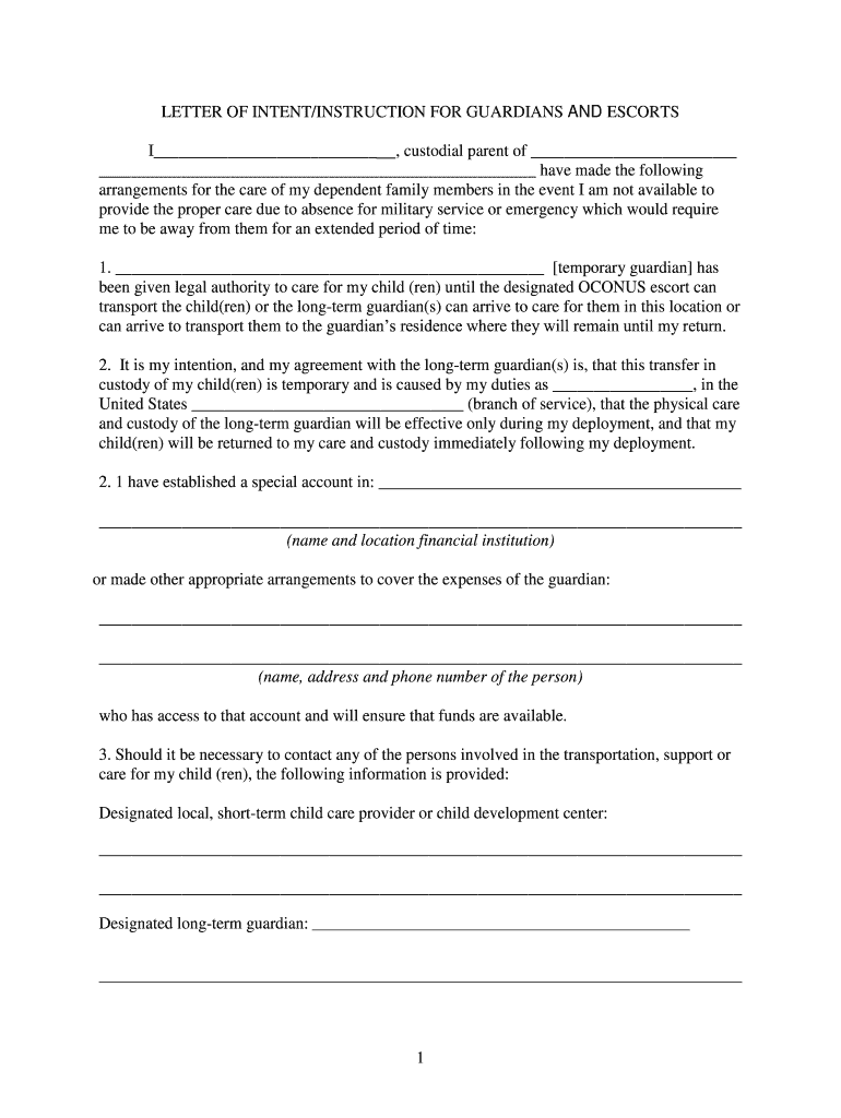 Get And Sign Army Family Care Plan Letter Of Instruction Form