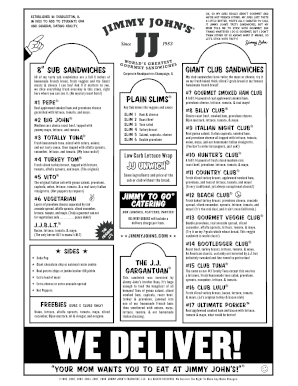 jimmy johns order form  Jimmy johns order form - Fill Out and Sign Printable PDF ...