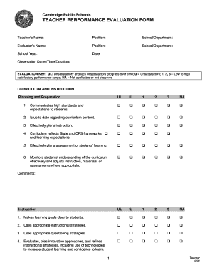 Performance Evaluation Forms | Teacher Performance Evaluation Form Signnow Fill Out And Sign