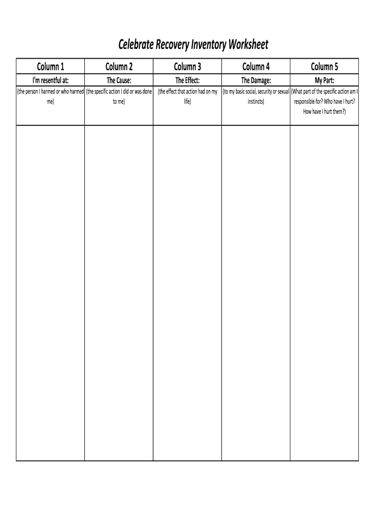 Celebrate Recovery Inventory Worksheet Fill Out And Sign Printable Pdf Template Signnow