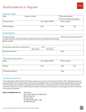 Wells fargo authorization form - Fill Out and Sign Printable PDF