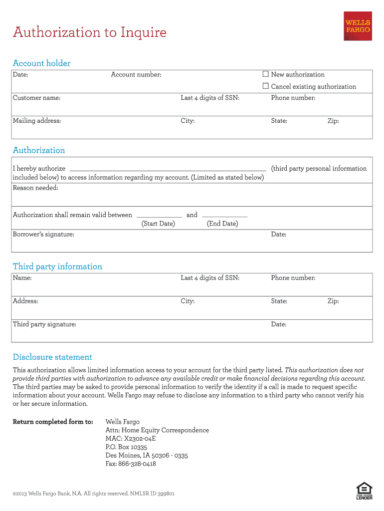 Wells Fargo Authorization Form Fill Out And Sign Printable Pdf Template Signnow