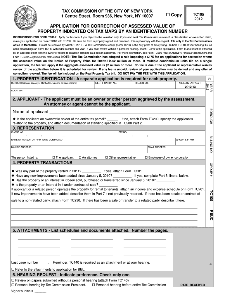 Get And Sign Application For Correction Of Assessed Value  NYC gov  Nyc 2012-2021 Form