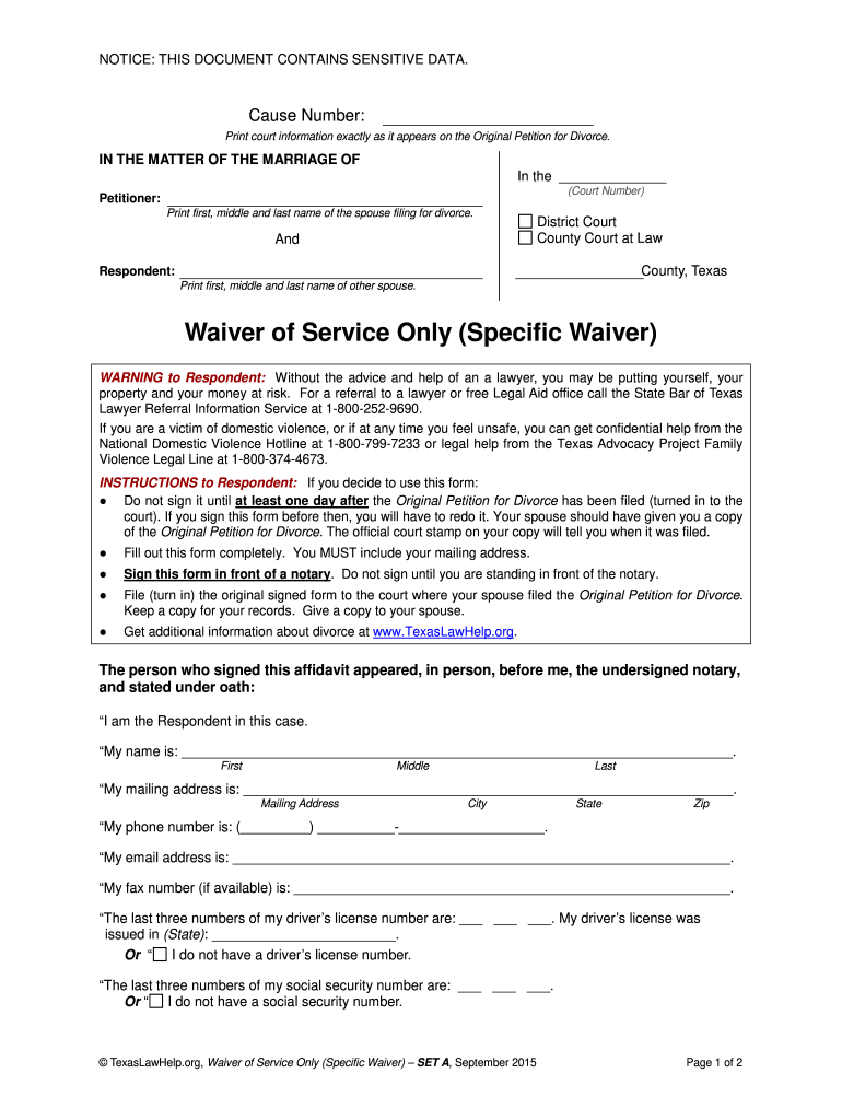 Get And Sign Waiver Form Texas 2012-2021