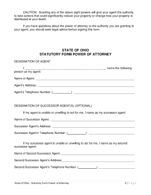 Power Of Attorney Form Ohio Fill Out And Sign Printable
