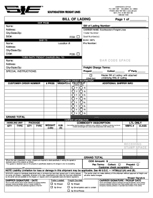 Bill Of Lading Pdf   Southeastern Bill Lading Form Signnow Fill Out And Sign