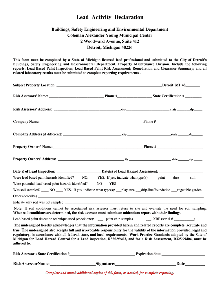 Get And Sign Activity Declaration Form