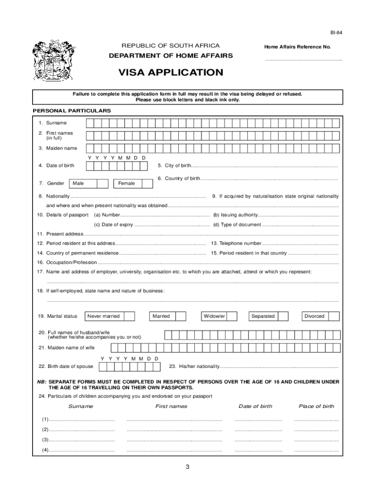Visa Application Forms For South Africa Fill Out And Sign Printable Pdf Template Signnow