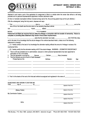 Form affidavit will - Fill Out and Sign Printable PDF