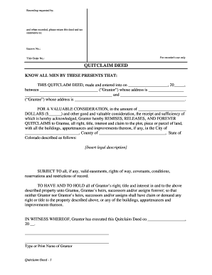 photo regarding Printable Quit Claim Deed identify Colorado quitclaim deed type - Fill Out and Indicator Printable