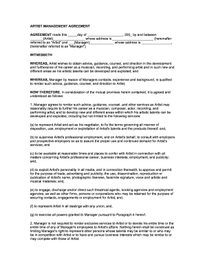 Artist Management Contract 2020 Fill Out And Sign Printable Pdf Template Signnow