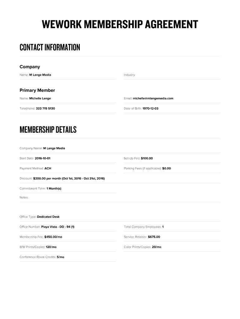 Get And Sign Wework Membership Agreement Pdf Form